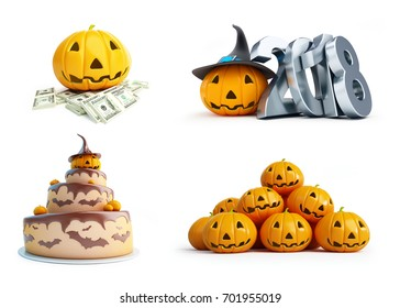 halloween pumpkin set on a white background 3D illustration, 3D rendering