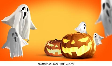 Halloween pumpkins ghosts 3d rendering