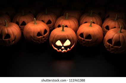 Halloween Pumpkins - Isolated on Dark Background