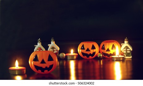 halloween pumpkins at night dark scary scenery and candle