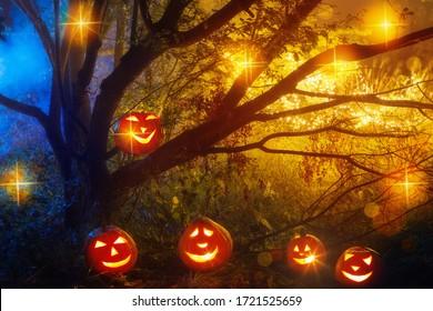 Calabazas de Halloween en el misterio nocturno