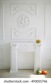 Halloween pumpkins on luxury white wall design bas-relief with stucco mouldings roccoco element