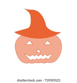 Halloween, red pumpkin pattern icon isolated on white background