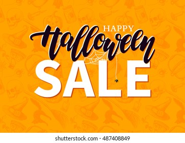 Halloween Sale  banner with lettering and detailed engraving background.