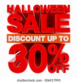 HALLOWEEN SALE DISCOUNT UP TO 30 % OFF illustration 3D rendering