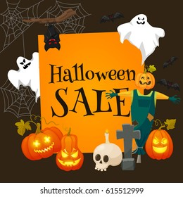 Halloween sale offer design template.Sale background with effigy, ghosts, skull, pumpkins and other traditional symbols of Halloween. Retro cartoon style  illustration