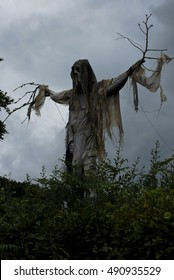 A Halloween scarecrow frightens more than birds