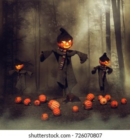 Halloween scarecrows in a pumpkin field near a dark forest. 3D illustration.