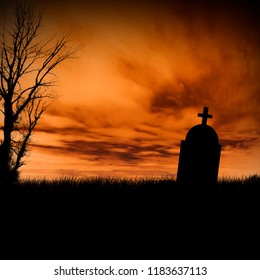 Halloween scary tombstone with orange burning sky. Horror graveyard silhouette at night. October 31 halloween party poster design background.