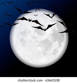 Halloween scene with bats against the backdrop of the moon