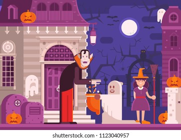 Halloween scene with scary haunted house, trick or treat children in costumes of ghost and witch getting candies from monster by moon night. Halloween concept with vampire and trick or treaters kids.
