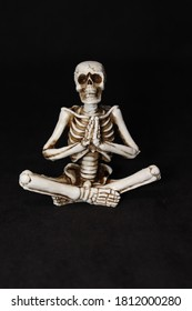 A halloween skeleton sitting with hands forward