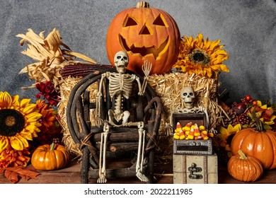 Halloween with skeletons candy corn jack o lantern fall pumpkins and autumn sunflowers