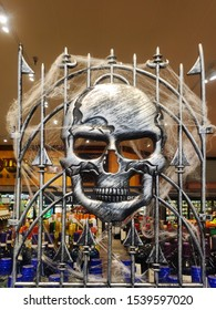 Halloween skull design made of metal inside the stater brothers shop.perris,California.October 21,2019