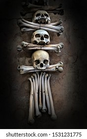 Halloween skulls Memento more. Human Skeleton bones and skulls. Abstract Skeleton grave death and mystery concept