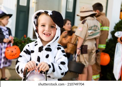 Halloween: Smiling Boy In Halloween Dalmatian Costume Trick Or Treating