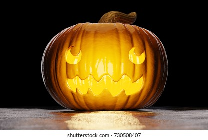 Halloween smiling carved pumpkin with black background on snow. 3D illustration with pumpkin facing the camera.