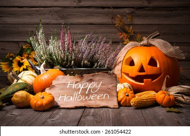 Halloween still life with pumpkins and holiday text