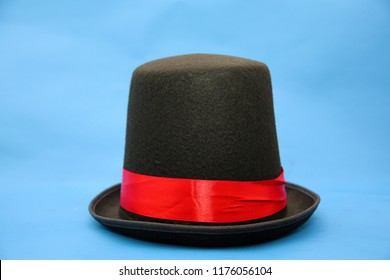 Halloween stovepipe hat. stove pipe hat isolated on blue. Halloween prop. Halloween costume.