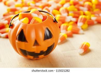 Halloween Striped Candy Corn against a background