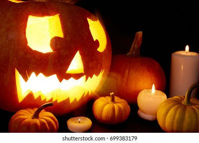 Halloween symbols burning in the dark