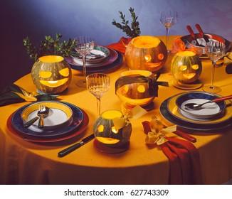 Halloween Dinner Table Setting.Halloween Dinner Table Images Stock Photos Vectors