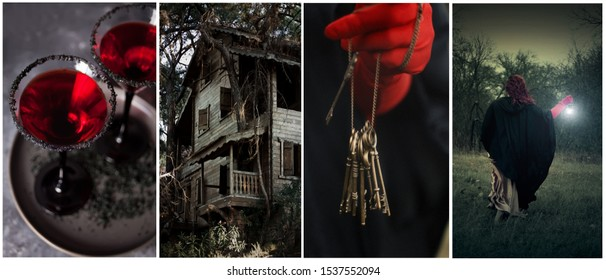 Halloween theme collage of four photos. bloody red cocktail, scary witch house, witch, vintage keys in woman's hands