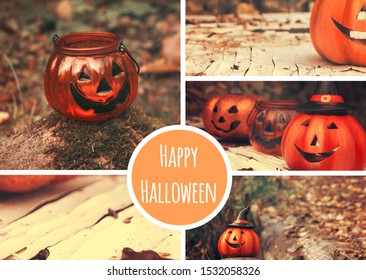 Halloween theme collage. Funny pumpkins spooky faces. Greeting card, party flyer design. Seasonal moodboard