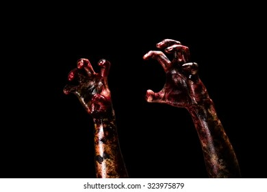 Halloween theme:Bloody hands , black background, zombie, demon, killer, maniac with clipping path.