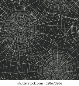 Halloween Themed Seamless Pattern Spider Web Stock Vector