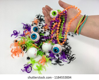 Halloween toys and eyeballs for trick or treating.