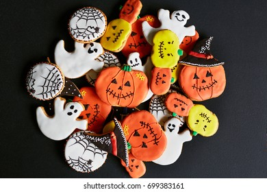 Halloween treats in shapes of symbols of the holiday