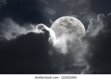 Halloween type of a full moon cloudy sky.