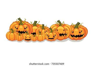 Halloween vector orange pumpkins graphic. Horizontal banner design template for e-commerce market, web site banners or thanksgiving day backgrounds. Pile of orange pumpkins frame border patch.
