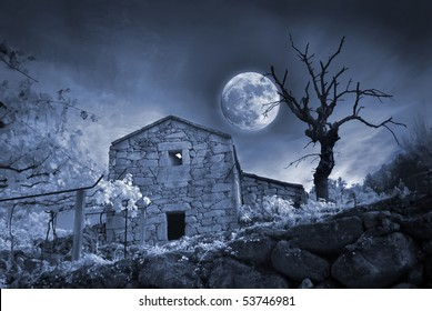 Halloween view of an abandoned country house.