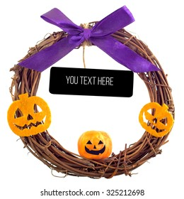 Halloween welcome wreath, beautiful branch wreath with pumpkin. Isolated on the white background
