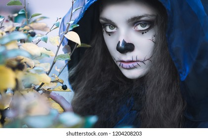 halloween witch face close up photo, evil abstract