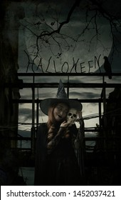Halloween witch holding a skull standing over damaged old wooden bridge, bird, dead tree, full moon with spooky cloudy sky, Grunge style, Halloween mystery concept