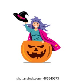 Halloween Witch in pumpkin Cartoon Illustration.