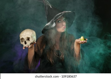 halloween witch with skull and frog