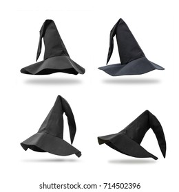 Halloween Witch wizard's black hat set of four isolated on white background with clipping path