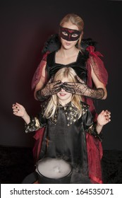 Halloween witches isolated on dark background