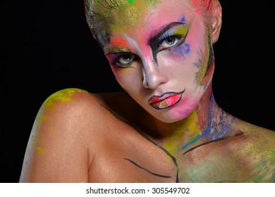 Halloween. Woman with creative make up.