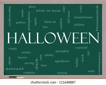 Halloween Word Cloud Concept on a Blackboard with great terms such as pumpkin, trick, treat, witch, costumes and more.