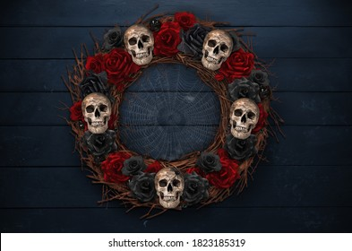 Halloween Wreath with skulls and roses, background