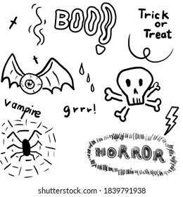 Halloween,party,pumkin,sticker, Halloween seamless pattern with skull, zombie hand, witch hat, pumpkin and bat on white background