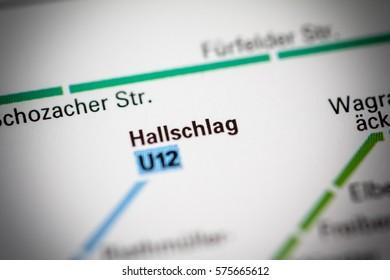 Hallschlag Station. Stuttgart Metro map.
