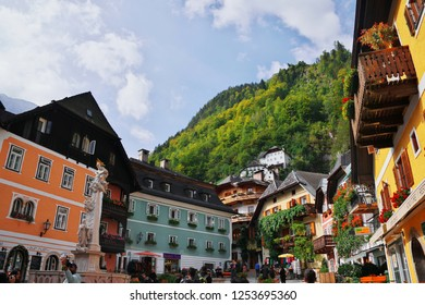 HALLSTATT, AUSTRIA - 29 SEPTEMBER 2018: Town square in Hallstatt, Austria. Hallstatt is historical village located in Austrian Alps at Hallstatter lake and promoted by UNESCO World Heritage region.