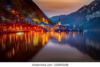 Hallstatt, Austria - Famous Austrian scenic night view of Hallstatter lake and village in Austrian Alps