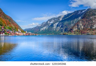 Hallstatt, Austria - Famous Austrian scenic view of Hallstatter lake and village in Austrian Alps